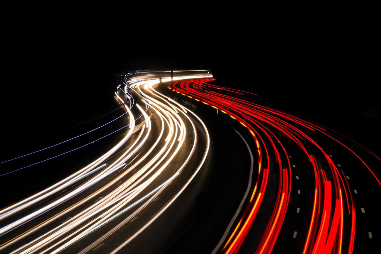 Headlights and taillights at night with time stop photography