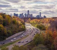 Toronto traffic in autumn