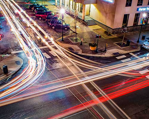 Traffic in Valparaiso Indiana at night