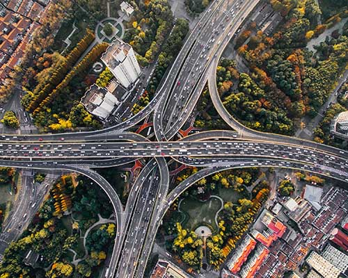 Aereal highway cloverleaf photo