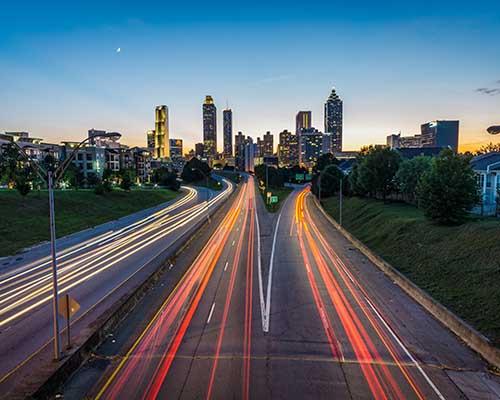 Time stop photo of traffic in Atlanta at dusk