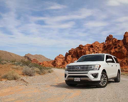 Large Ford SUV on Valley of Fire Highway California