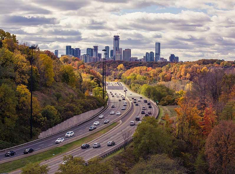 Toronto traffic in autumn